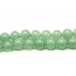 Fil 39cm 63pc env - Perles de Pierre - Aventurine Verte Boules 6mm