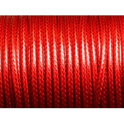 Bobine 45 mètres - Fil Cordon Coton Ciré 3mm Rouge