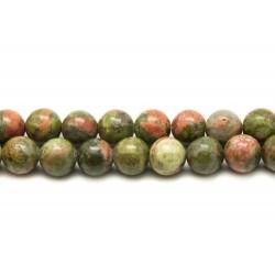 Fil 39cm 63pc env - Perles de Pierre - Unakite Boules 6mm