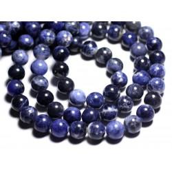 Fil 39cm 37pc env - Perles de Pierre - Sodalite Boules 10mm