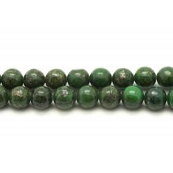 Fil 39cm 48pc env - Perles de Pierre - Pyrite Verte Boules 8mm