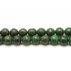 1 Fil 39cm Perles de Pierre - Pyrite Verte Boules 6mm