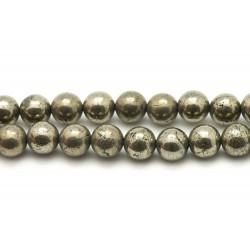 1 Fil 39cm Perles de Pierre - Pyrite Boules 8mm