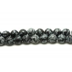 Fil 39cm 46pc env - Perles de Pierre - Obsidienne Flocon Mouchetée Boules 8mm