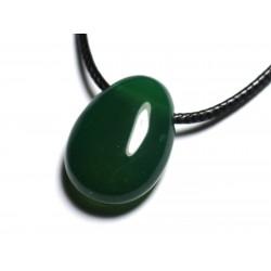 Collier Pendentif Pierre semi précieuse - Onyx vert Goutte 25mm