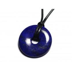 Collier Pendentif Pierre semi précieuse - Lapis Lazuli Donut Pi 30mm