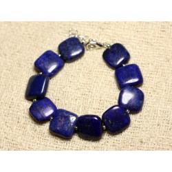Bracelet Argent 925 et Pierre - Lapis Lazuli Carrés 14mm