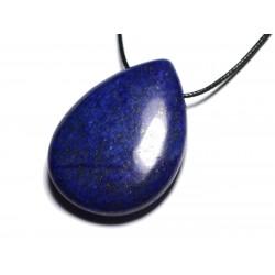 Collier Pendentif en Pierre semi précieuse - Lapis Lazuli grande goutte 60mm