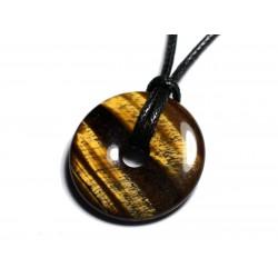 Collier Pendentif en Pierre - Oeil de Tigre Donut Pi 30mm