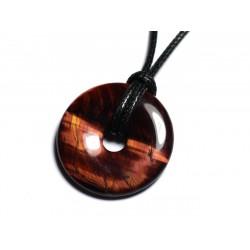 Collier Pendentif en Pierre - Oeil de Taureau Donut Pi 30mm
