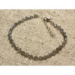 Bracelet Argent 925 et Perles de Pierre Labradorite Boules 3mm