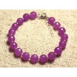 Bracelet Argent 925 et Pierre - Jade Rose Fuchsia Violette Facettée 8mm
