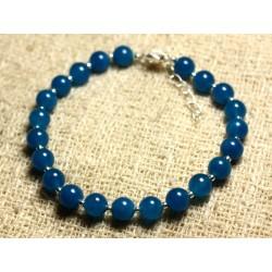 Bracelet Argent 925 et Pierre - Jade Bleue 6mm