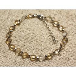 Bracelet Argent 925 et Perles de Pierre Citrine Gouttes Facettées 6-7mm