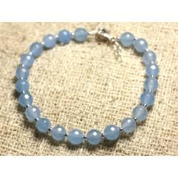 Bracelet Argent 925 et Pierre - Jade Bleue Facettée 6mm