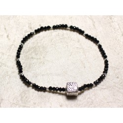 Bracelet Argent 925 et Pierre - Spinelle noir rondelles facettées 3x2mm