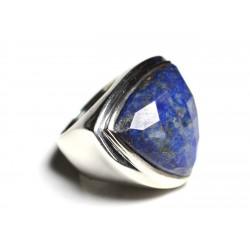 N347 - Bague Argent 925 et Pierre - Lapis Lazuli Facetté Triangle 21mm