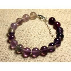 Bracelet Argent 925 et Pierre semi précieuse - Fluorite Violette 10mm