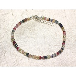 Bracelet Argent 925 et Pierre - Saphir Multicolore Rondelles Facettées 3mm