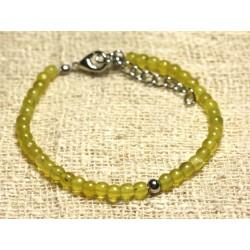 Bracelet Argent 925 et Pierre semi précieuse Jade Olive 4mm