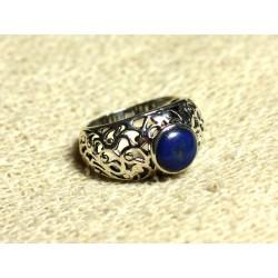 N112 - Bague Argent 925 et Pierre Filigrane Arabesques - Lapis Lazuli Rond 8mm