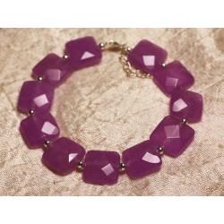 Bracelet Argent 925 et Pierre - Jade Violet Rose Carrés Facettés 14mm