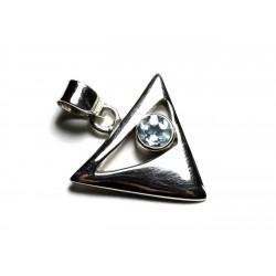 PE112 - Pendentif Argent 925 et Pierre - Triangle 20mm Topaze Bleue