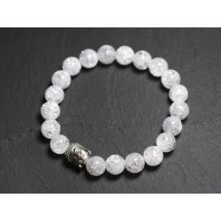 Bracelet Bouddha et Pierre semi précieuse - Cristal de Roche Quartz craquelé
