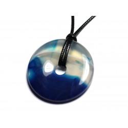Collier Pendentif en Pierre - Agate Bleue Donut Pi 40mm