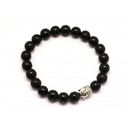 Bracelet Bouddha et Pierre semi précieuse - Onyx noir mat givré Ligne 8mm