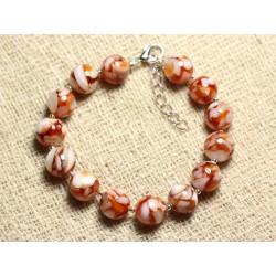 Bracelet Argent 925 Nacre et Résine 10mm Orange et Blanc