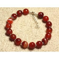 Bracelet Argent 925 et Pierre semi précieuse - Agate Rouge Orange 8mm