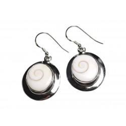 Boucles d'oreilles argent 925 Oeil Shiva Sainte Lucie Ovales 33mm