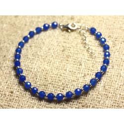 Bracelet Argent 925 et Pierre - Jade Bleue Facettée 4mm