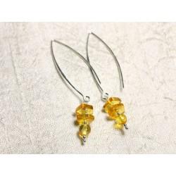 Boucles d'oreilles argent 925 Longs crochets et Ambre naturelle Miel 6-9mm