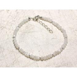 Bracelet Argent 925 et Pierre - Pierre de Lune blanche rondelles facettées 3mm