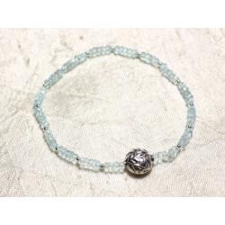 Bracelet Argent 925 et Pierre - Topaze Bleue rondelles facettées 3x2mm