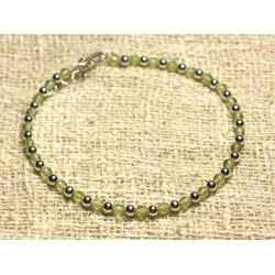 Bracelet Argent 925 et Perles de Pierre Péridot Facetté 3mm