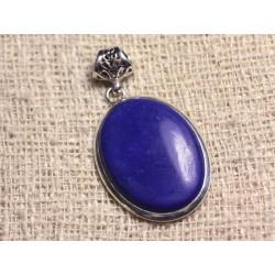 N1 - Pendentif Argent 925 et Pierre - Lapis Lazuli Ovale 28x20mm