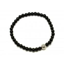 Bracelet Pierre semi précieuse Obsidienne noire 4mm et Perle argentée