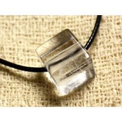 Collier Pendentif en Pierre - Cristal Quartz Cube 15mm