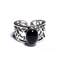 N224 - Bague Argent 925 et Pierre - Onyx noir Ovale 9x7mm