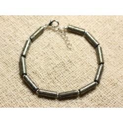 Bracelet Argent 925 et Pierre - Pyrite Tubes 13mm