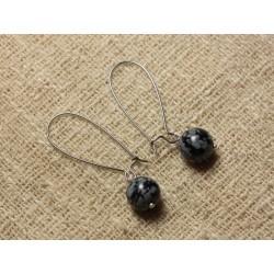 Boucles d'Oreilles Pierre semi précieuse - Obsidienne Flocon 10mm