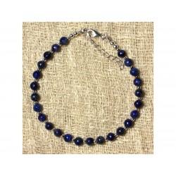 Bracelet Argent 925 et Pierre Lapis Lazuli 4mm