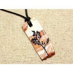 Collier Pendentif Céramique Empreintes Feuilles Nature Rectangle 51mm