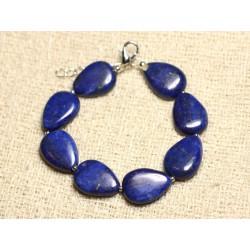Bracelet Argent 925 et Pierre - Lapis Lazuli Gouttes 18mm