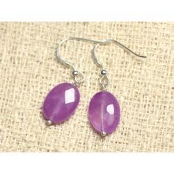 Boucles d'Oreilles Argent 925 et Pierre - Jade Violet Rose Ovales Facettés 14mm
