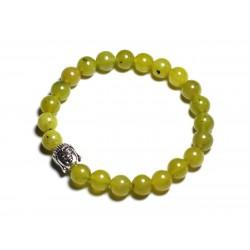Bracelet Bouddha et Pierre semi précieuse - Jade Olive