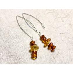 Boucles d'oreilles argent 925 Longs crochets et Ambre naturelle 7-10mm